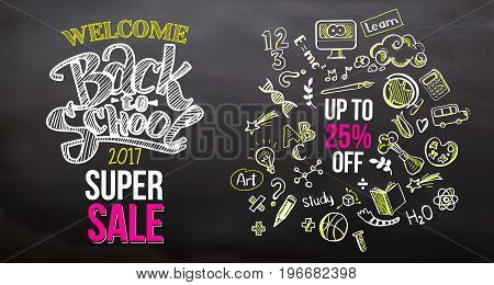Hand drawn with chalk Back to school super Sale typography with education doodle icon symbols on blackboard. Lettering back to school sale for business banners, posters. Up to 25 persent off
