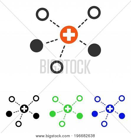 Medical Links vector pictograph. Illustration style is a flat iconic colored symbol with different color versions.