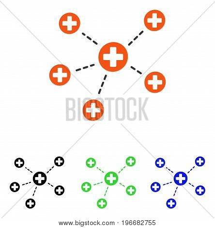 Medical Links vector pictogram. Illustration style is a flat iconic colored symbol with different color versions.