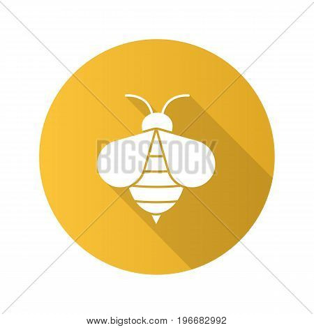 Honey bee flat design long shadow glyph icon. Apiary sign. Wasp. Vector silhouette illustration