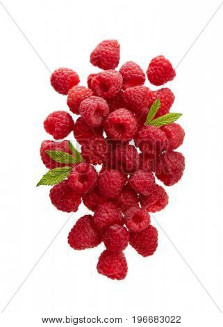 Fresh Raspberries With Leaves on White Background.