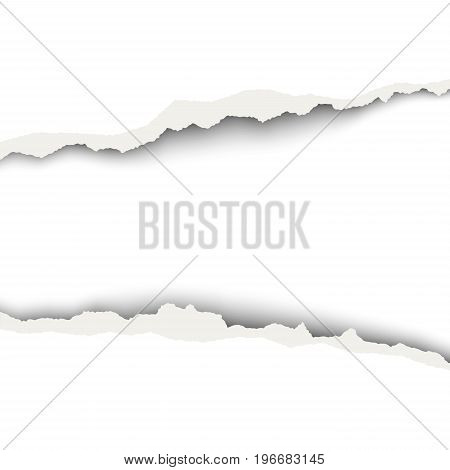 Snatched middle of white paper background with torn edges soft shadow and space for text or ad. Template paper design.