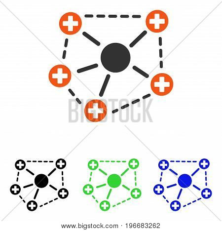 Medical Network Structure vector pictogram. Illustration style is a flat iconic colored symbol with different color versions.