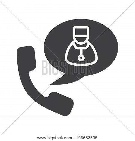 Phone call to doctor glyph icon. Silhouette symbol. Handset with therapist inside speech bubble. Negative space. Vector isolated illustration