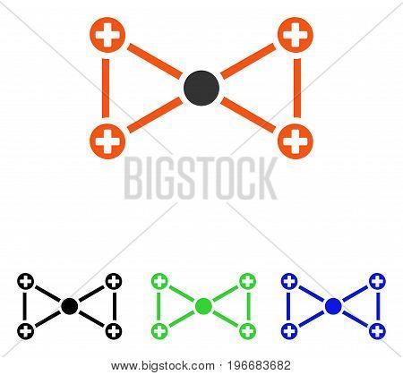 Medical Nodes vector icon. Illustration style is a flat iconic colored symbol with different color versions.