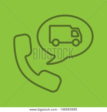 Delivery order by phone linear icon. Handset with delivery van inside speech bubble. Thin line outline symbols on color background. Vector illustration