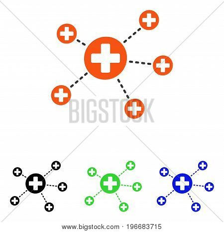 Medical Relations vector pictograph. Illustration style is a flat iconic colored symbol with different color versions.