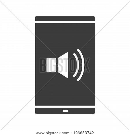 Smartphone sound control glyph icon. Silhouette symbol. Smart phone with loudspeaker waves. Volume on. Negative space. Vector isolated illustration