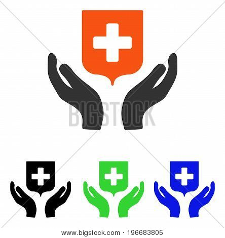 Medical Shield Care Hands vector icon. Illustration style is a flat iconic colored symbol with different color versions.