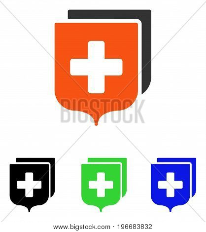 Medical Shields vector pictograph. Illustration style is a flat iconic colored symbol with different color versions.