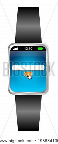 Smartwatch with internet web search engine - 3D illustration
