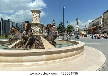 SKOPJE, REPUBLIC OF MACEDONIA - 13 MAY 2017: Fountain in the centre of city of  Skopje, Republic of Macedonia