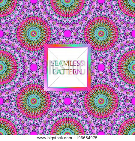 Seamless Pattern Design. Mandala Round Elements. Ethnic Colorful Background. For Textile, Print, Car