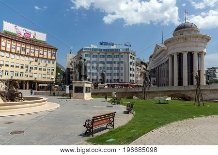 SKOPJE, REPUBLIC OF MACEDONIA - 13 MAY 2017: Panorama of Center of city of  Skopje, Republic of Macedonia