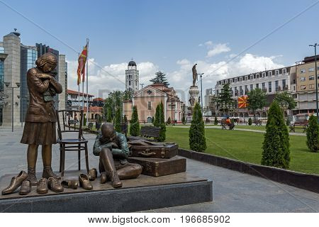SKOPJE, REPUBLIC OF MACEDONIA - 13 MAY 2017: Holocaust Museum in city of  Skopje, Republic of Macedonia