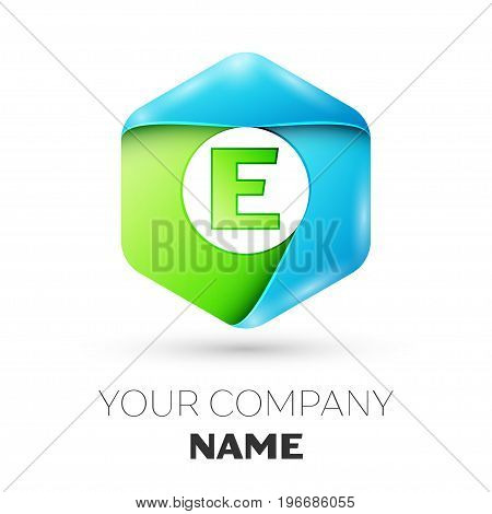 Letter E vector logo symbol in the colorful hexagonal on white background. Vector template for your design