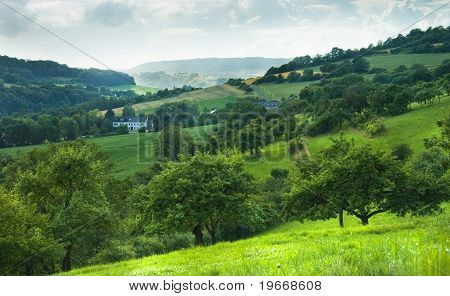 Green Hills Of Luxembourg, Europe In Summer