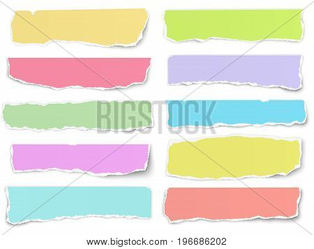 Set of elongated torn color paper fragments isolated on white