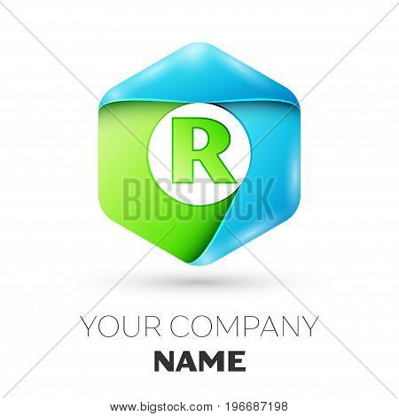 Letter R vector logo symbol in the colorful hexagonal on white background. Vector template for your design