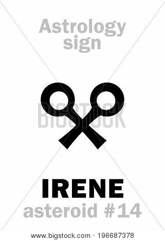 Astrology Alphabet: IRENE, asteroid #14. Hieroglyphics character sign (single symbol).