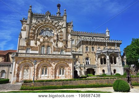 Luso Portugal - June 10, 2017:Medieval Bussaco Palace near Luso in Portugal. Palace built in 1628 as a convent