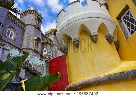 Sintra Portugal - June 6 2017: Inside of Pena National Palace in Sintra in Portugal. Most visited castle in Portugal