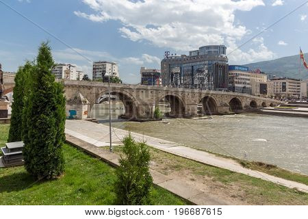 SKOPJE, REPUBLIC OF MACEDONIA - 13 MAY 2017: Skopje City Center, Old Stone Bridge and Vardar River, Republic of Macedonia