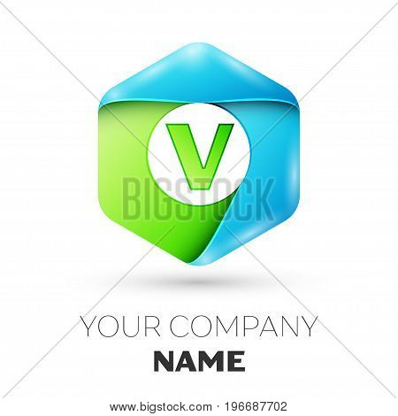 Letter V vector logo symbol in the colorful hexagonal on white background. Vector template for your design
