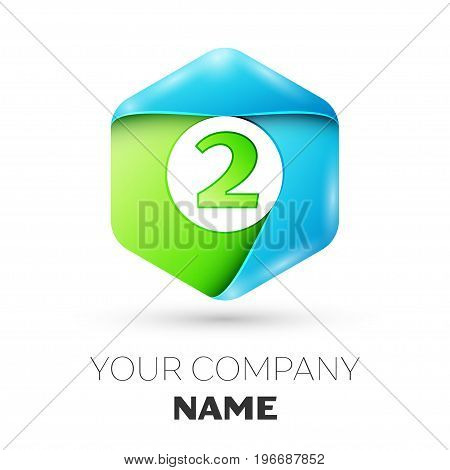 Number two vector logo symbol in the colorful hexagonal on white background. Vector template for your design