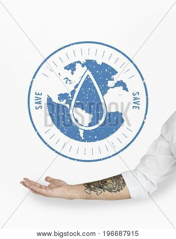 Save Water Globe Sign Concept