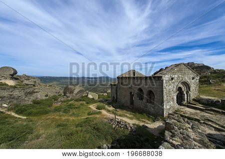 The romanic chapel of Sao Miguel (Capela de Sao Miguel) in the outskirts of the medieval village of Monsanto in Portugal