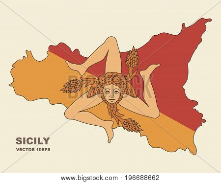 Flag of Sicily in the form of a map of the island