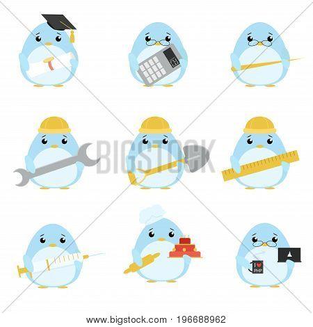 Vector Set Of Penguins Of Various Professions: Scientist, Accountant, Teacher, Engineer, Worker, Bui