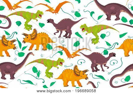 Color vector paleontology dinosaur texture good for wrapping paper, wallpaper and pattern fill