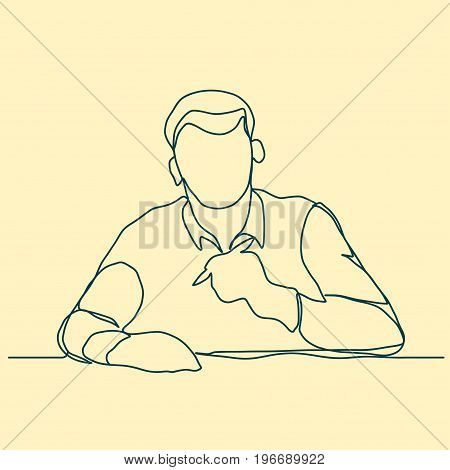 Businessman with pen thinking, Poet linear design, continuous line art, Thoughtful man outline. Vector