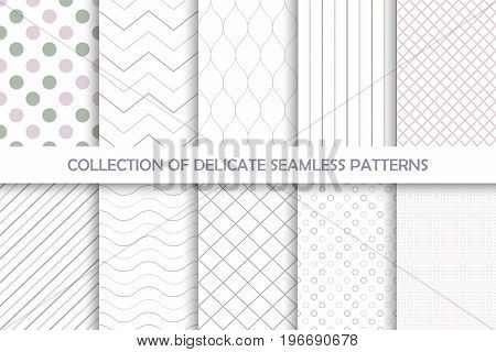 Collection of seamless delicate patterns. Halftone textile colors.