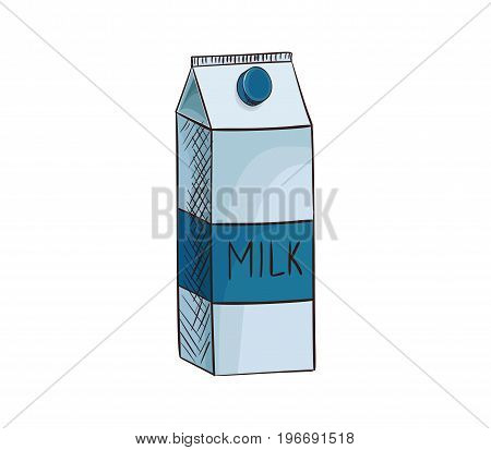 Milk cardboard box vector icon isolated, hand drawn sketch of natural drink in container, template for menu, healhty diet infographics, sticker, flyer, package