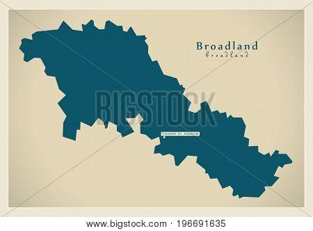 Modern Map - Broadland District Of Norfolk England Uk Illustration