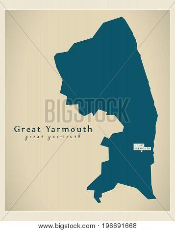 Modern Map - Great Yarmouth District Of Norfolk England Uk Illustration