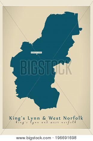 Modern Map - Kings Lynn And West Norfolk District Of Norfolk England Uk Illustration