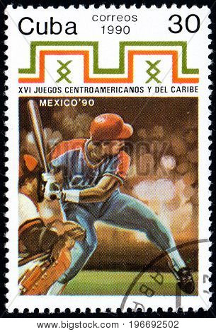 UKRAINE - CIRCA 2017: A postage stamp printed in Cuba shows Baseball from series 16th Central American and Caribbean Games circa 1990