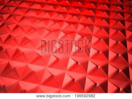 Dimensional red abstract geometric polygon backdrop. 3D rendering.