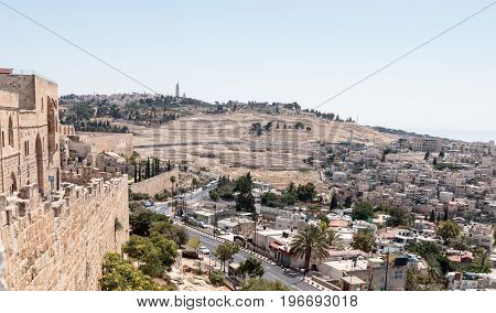 Jerusalem Israel July 14 2017 : View of the Mount of Olives Jerusalem Cemetery from the Dung Gate in the old town in Jerusalem Israel