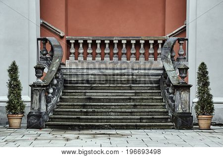 Baroque staircase in the courtyard of the former college of the Jesuits in Poznan