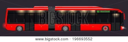 Large Articulated Bus. Red With Modern Design. Side View. Translucent Windows. Dark Night Background