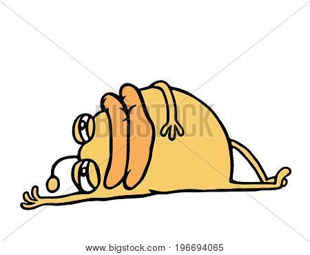 Cartoon orange monster resting lying down. Holidays and vacations. Cute animation character. Vector illustration.