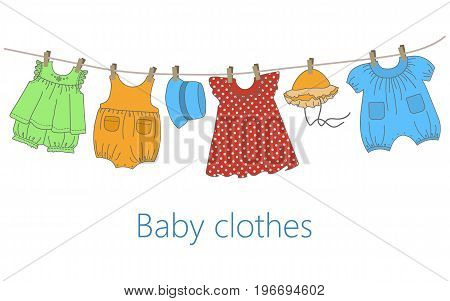Baby clothes hang on the clothesline. Things are dried on clothespins after washing. Vector flat illustration.