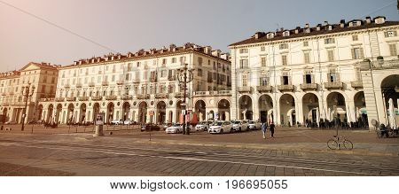 TURIN ITALY - JULY 7 2017: Turin (Piedmont Italy) view of Vittorio Veneto Square big square of the city