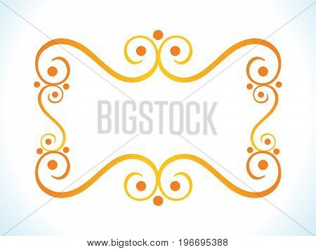 abstract artistic orange floral border vector illustration
