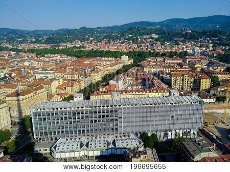Aerial View of Turin - Italy - in the foreground Department of Philosophy and Education Sciences